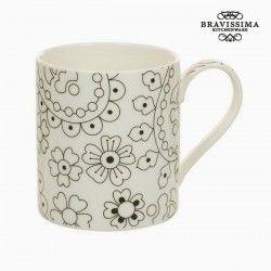 Cup Porcelain Black Beige -...